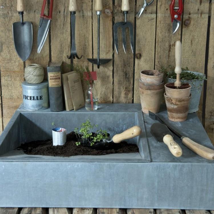 Bac de rempotage en zinc botanique editions for Bac en zinc jardin