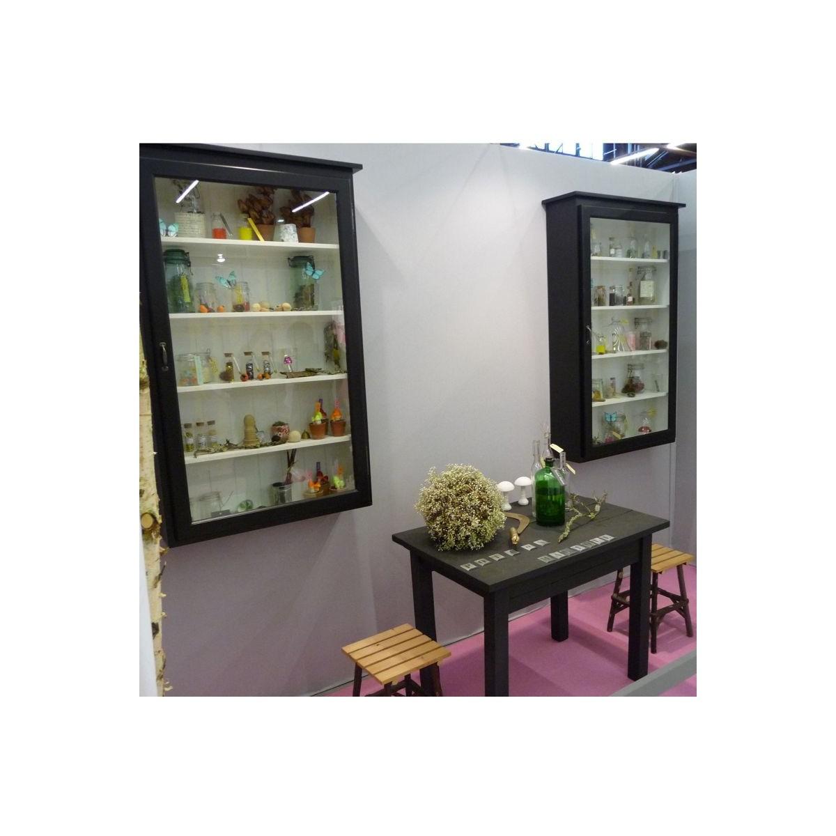 grande vitrine murale noire botanique editions. Black Bedroom Furniture Sets. Home Design Ideas