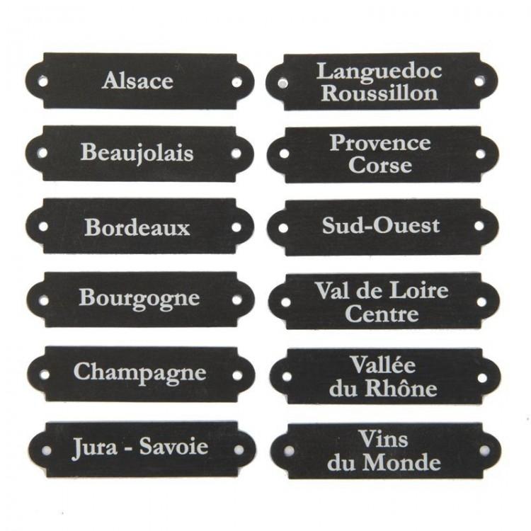 Etiquettes de Cave en Zinc Régions Vinicoles