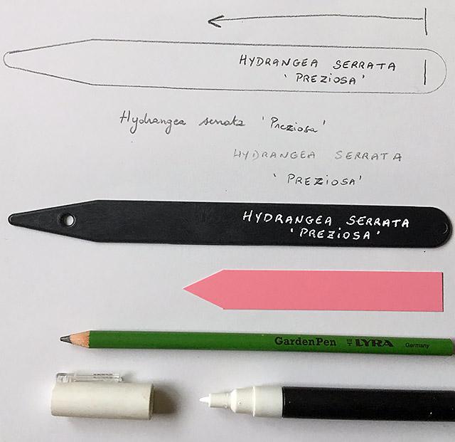 exemple d'écriture sur une étiquette de jardin